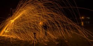 Sparks on the beach